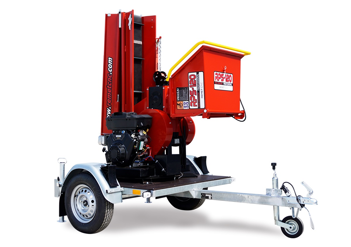 Барабанная рубительная машина с приводом от дизельного двигателя MODEL RPS-120 + ПОВОРОТНЫЙ КРУГ + ПРИЦЕП